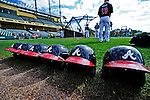 6 March 2012: A group of Atlanta Braves Batting Helmets lie ready prior to a Spring Training game against the Washington Nationals at Champion Park in Disney's Wide World of Sports Complex, Orlando, Florida. The Nationals defeated the Braves 5-2 in Grapefruit League action. Mandatory Credit: Ed Wolfstein Photo