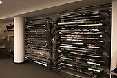 Stick wall in large equipment room. - Harvard University celebrated the official opening of the newly renovated Bright-Landry Hockey Center on Saturday, November 1, 2014,  in Cambridge, Massachusetts.