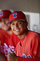 Philadelphia Phillies Nicolas Torres (18) in the dugout during a Florida Instructional League game against the Toronto Blue Jays on September 24, 2018 at Spectrum Field in Clearwater, Florida.  (Mike Janes/Four Seam Images)