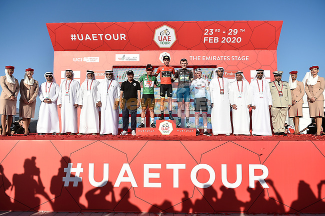 The finish podium of Stage 3 The Emirates Stage of the UAE Tour 2020 running 184km from Al Qudra Cycle Track to Jebel Hafeet, Dubai. 25th February 2020.<br /> Picture: LaPresse/Fabio Ferrari   Cyclefile<br /> <br /> All photos usage must carry mandatory copyright credit (© Cyclefile   LaPresse/Fabio Ferrari)
