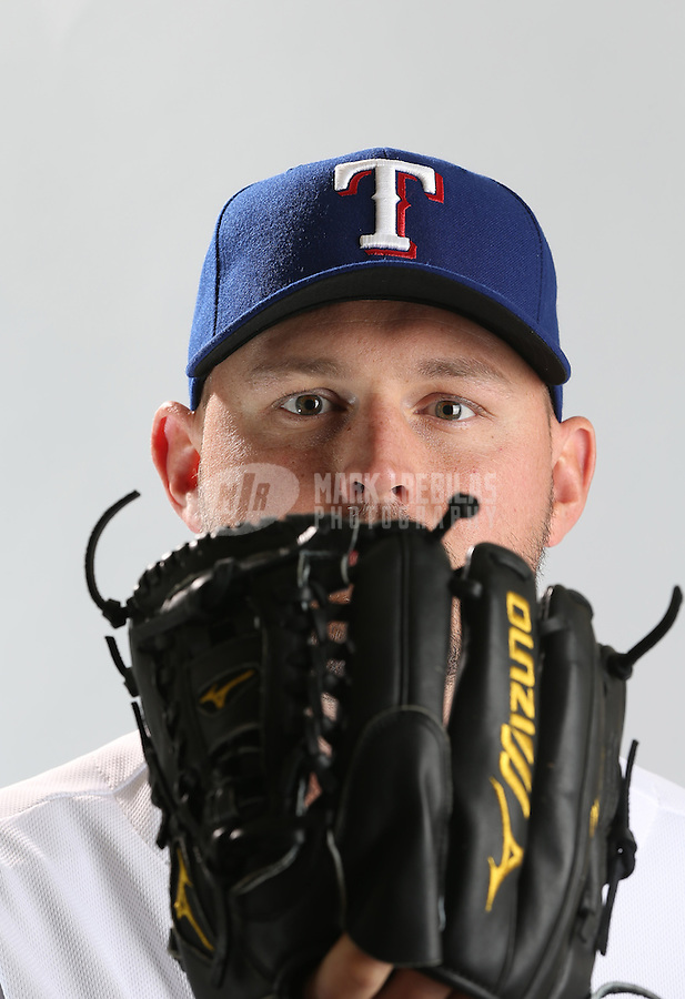Feb. 20, 2013; Surprise, AZ, USA: Texas Rangers pitcher Matt Harrison poses for a portrait during photo day at Surprise Stadium. Mandatory Credit: Mark J. Rebilas-