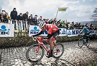 Mads Pedersen (DEN/Trek Segafredo) up the cobbles of the  Koppenberg. <br /> <br /> 102nd Ronde van Vlaanderen 2018<br /> 1day race: Antwerp › Oudenaarde - BEL (265k)