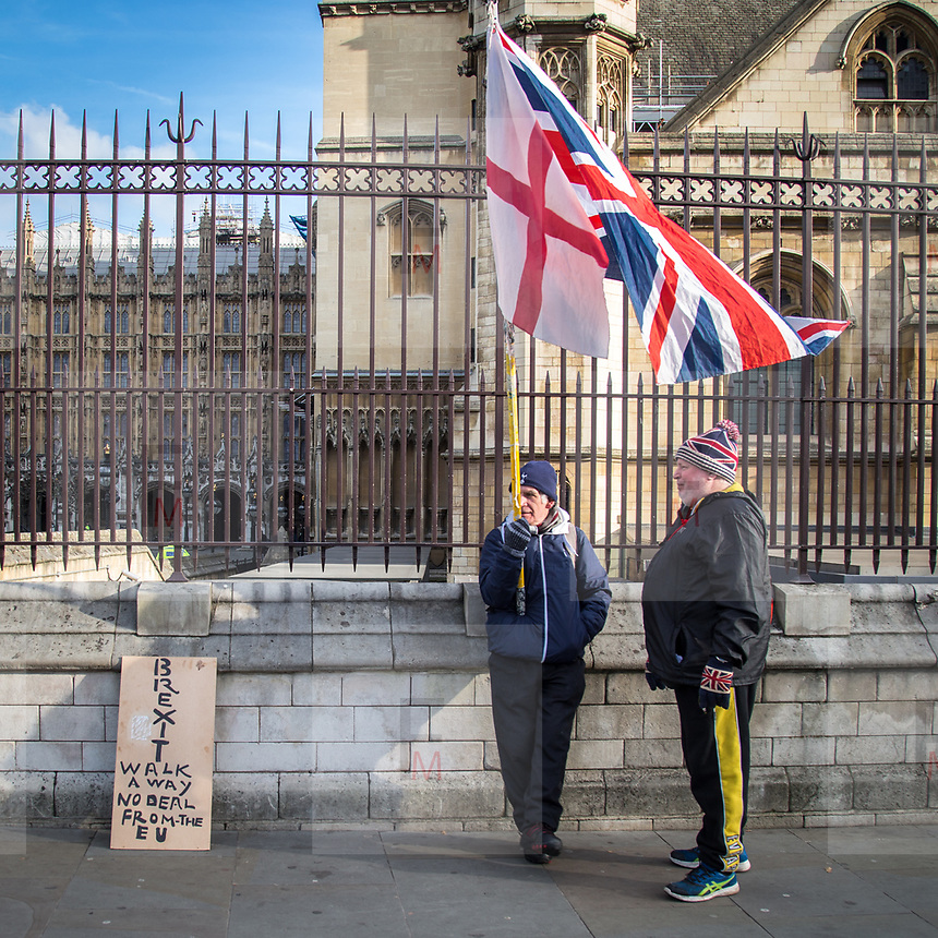 Sostenitori della Brexit davanti alla sede del Parlamento inglese a Londra<br /> <br /> Brexit supporters outside the Houses of Parliament in London.