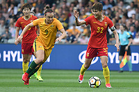 26 November 2017, Melbourne - MA JUN (32) of China PR reacts during an international friendly match between the Australian Matildas and China PR at GMHBA Stadium in Geelong, Australia.. Australia won 5-1. Photo Sydney Low