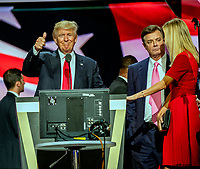 ***FILE PHOTO*** Paul Manafort Receives 90 months total in prison time after second sentence.<br /> Cleveland Ohio, USA, 21th July , 2016<br /> Donald Trump, Paul Manafort Trump campaign manager and Ivanka Trump during the sound checks  on stage in the Quicken Arena for the Republican National Convention <br /> CAP/MPI/MRN<br /> &copy;MRNJ/MPI/Capital Pictures