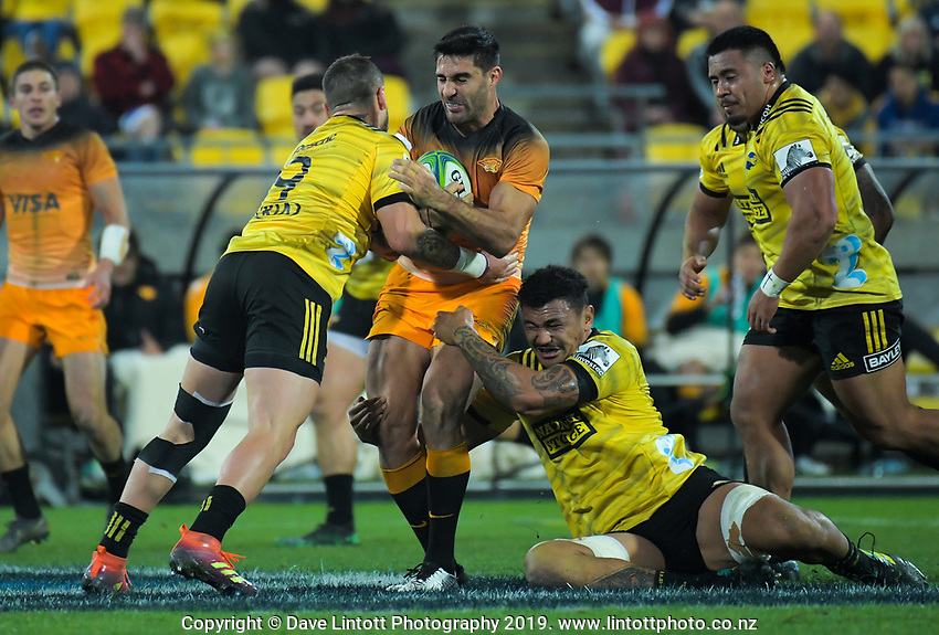 Jaguares captain Jeronimo De La Fuente is tackled during the Super Rugby match between the Hurricanes and Jaguares at Westpac Stadium in Wellington, New Zealand on Friday, 17 May 2019. Photo: Dave Lintott / lintottphoto.co.nz