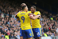 Che Adams of Birmingham City scores and celebrates his first goa during Queens Park Rangers vs Birmingham City, Sky Bet EFL Championship Football at Loftus Road Stadium on 9th February 2019