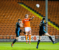Blackpool's Steve Davies wins a header over West Bromwich Albion U21's George Harmon<br /> <br /> Photographer Alex Dodd/CameraSport<br /> <br /> The EFL Checkatrade Trophy Northern Group C - Blackpool v West Bromwich Albion U21 - Tuesday 9th October 2018 - Bloomfield Road - Blackpool<br />  <br /> World Copyright &copy; 2018 CameraSport. All rights reserved. 43 Linden Ave. Countesthorpe. Leicester. England. LE8 5PG - Tel: +44 (0) 116 277 4147 - admin@camerasport.com - www.camerasport.com