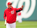 31 March 2011: Washington Nationals Manager Jim Riggleman watches his team take batting practice prior to Opening Day against the visiting Atlanta Braves at Nationals Park in Washington, District of Columbia. The Braves shut out the Nationals 2-0 to open the 2011 Major League Baseball season. Mandatory Credit: Ed Wolfstein Photo