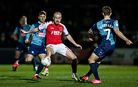 Fleetwood Town's Paddy Madden competing with Wycombe Wanderers' David Wheeler (right) <br /> <br /> Photographer Andrew Kearns/CameraSport<br /> <br /> The EFL Sky Bet League One - Wycombe Wanderers v Fleetwood Town - Tuesday 11th February 2020 - Adams Park - Wycombe<br /> <br /> World Copyright © 2020 CameraSport. All rights reserved. 43 Linden Ave. Countesthorpe. Leicester. England. LE8 5PG - Tel: +44 (0) 116 277 4147 - admin@camerasport.com - www.camerasport.com