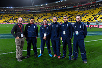 Match officials before the Steinlager Series international rugby match between the New Zealand All Blacks and France at Westpac Stadium in Wellington, New Zealand on Saturday, 16 June 2018. Photo: Dave Lintott / lintottphoto.co.nz