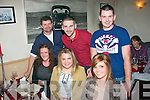 Ciara Foran, Tralee (seated centre) who celebrated her 22nd birthday by dining out in Cassidy's, Tralee on Saturday night with family and friends. Front l-r: Sharon Delaney, Ciara Foran and Sharon Delaney. Back l-r: Brendan Delaney, Dave Connolly and Steven Daly.