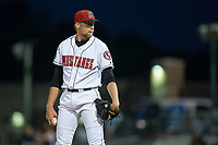 Billings Mustangs relief pitcher John Ghyzel (27) looks to his catcher for the sign against the Missoula Osprey at Dehler Park on August 21, 2017 in Billings, Montana.  The Osprey defeated the Mustangs 10-4.  (Brian Westerholt/Four Seam Images)