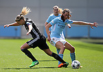 Ada Hegerberg of Lyon tackled by Jill Scott of Manchester City during the Women's Champions League, Semi Final 1st leg match at the Academy Stadium, Manchester. Picture date 22nd April 2018. Picture credit should read: Simon Bellis/Sportimage