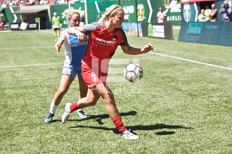 Portland, OR - Saturday August 05, 2017: Lindsey Horan, Camille Levin during a regular season National Women's Soccer League (NWSL) match between the Portland Thorns FC and the Houston Dash at Providence Park.