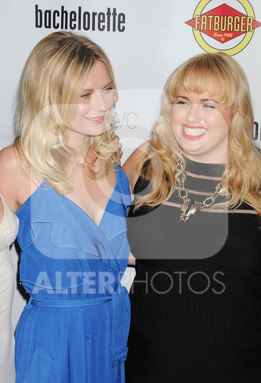 HOLLYWOOD, CA - AUGUST 23: Kirsten Dunst and Rebel Wilson arrive at the Los Angeles premiere of 'Bachelorette' at the Arclight Hollywood on August 23, 2012 in Hollywood, California. /NortePhoto.com.... **CREDITO*OBLIGATORIO** *No*Venta*A*Terceros*..*No*Sale*So*third* ***No*Se*Permite*Hacer Archivo***No*Sale*So*third*