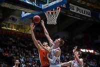 VALENCIA, SPAIN - OCTOBER 20: Robin Benzing and Jordi Trias during EUROCUP match between Valencia Basket Club and CAI Zaragozaat Fonteta Stadium on   October 22, 2015 in Valencia, Spain
