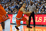 20 February 2016: Miami's Angel Rodriguez. The University of North Carolina Tar Heels hosted the University of Miami Hurricanes at the Dean E. Smith Center in Chapel Hill, North Carolina in a 2015-16 NCAA Division I Men's Basketball game. UNC won the game 96-71.
