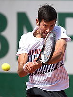 Novak Djokovic (SRB) (2) in action during his match with Joao Sousa (POR).  French Open Tennis Championships, Roland Garros, Paris, France 31st May 2017.
