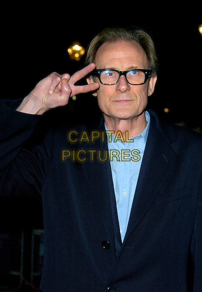 "BILL NIGHY.BFI London Film Festival UK Film Premiere of ""Brick Lane"" Odeon West End, London, England, .October 26th 2007..half length black jacket glasses blue shirt hand v peace sign gesture.CAP/CAN.©Can Nguyen/Capital Pictures"