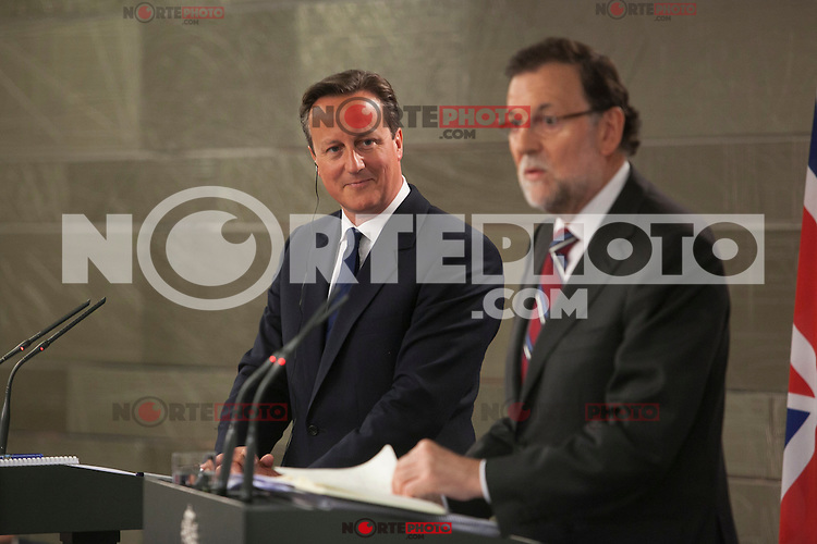Spanish Prime Minister Mariano Rajoy and British Prime Minister David Cameron during a press conference at Moncloa Palace in Madrid, Spain. Spetember 04, 2015. (ALTERPHOTOS/Victor Blanco)