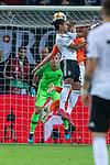 06.09.2019, Volksparkstadion, HAMBURG, GER, EMQ, Deutschland (GER) vs Niederlande (NED)<br /> <br /> DFB REGULATIONS PROHIBIT ANY USE OF PHOTOGRAPHS AS IMAGE SEQUENCES AND/OR QUASI-VIDEO.<br /> <br /> im Bild / picture shows<br /> <br /> Serge Gnabry (Deutschland / GER #20) Kopfball <br /> <br /> während EM Qualifikations-Spiel Deutschland gegen Niederlande  in Hamburg am 07.09.2019, <br /> <br /> Foto © nordphoto / Kokenge