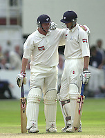 Photo Peter Spurrier.31/08/2002.Cheltenham & Gloucester Trophy Final - Lords.Somerset C.C vs YorkshireC.C..Yorkshire batting;  Matt Elliott. and Antony McGrath, left