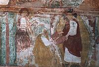 Europe/France/Poitou-Charentes/86/Vienne/Saint-Savin: Eglise romane de l'Abbaye Saint Savin sur Gartempe, fresques de la nef - Dieu donne à Moïse les tables de la loi