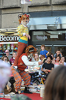 Pictured: Saturday 17 September 2016<br /> Re: Roald Dahl&rsquo;s City of the Unexpected has transformed Cardiff City Centre into a landmark celebration of Wales&rsquo; foremost storyteller, Roald Dahl, in the year which celebrates his centenary.<br /> One of the flash mob performances on St Marys Street, Cardiff City centre.