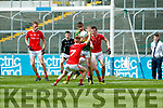 Donal O'Sullivan Kerry in action against James O'Reilly Louth in the All Ireland Minor Football Quarter Finals at O'Moore Park, Portlaoise on Saturday.