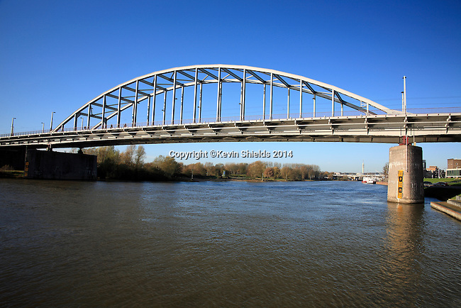"The bridge over the Rhine river, focal point of the Battle of Arhem, September 1944, and subject of the movie ""A Bridge Too Far"", Arnhem, The Netherlands."