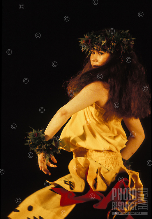 "EDITORIAL ONLY. Dancing """"kahiko"""" hula at the Merrie Monarch Hula festival. Hilo, Big Island"