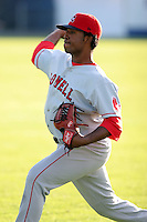 September 9 2008:  Pitcher Dennis Neuman of the Lowell Spinners, Class-A affiliate of the Boston Red Sox, during a game at Dwyer Stadium in Batavia, NY.  Photo by:  Mike Janes/Four Seam Images