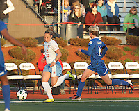 Chicago Red Stars forward Ella Masar (3) brings the ball forward.  In a National Women's Soccer League Elite (NWSL) match, the Boston Breakers (blue) defeated Chicago Red Stars (white), 4-1, at Dilboy Stadium on May 4, 2013.