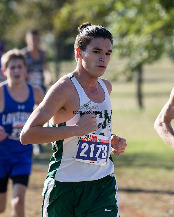 Jackson Baeza of Little Cypress-Mauriceville runs in the Boys Class 4A UIL Cross Country State Championships at Old Settlers Park in Round Rock, Texas, on November 12, 2016.