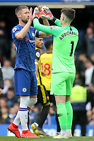 Gary Cahill and Chelsea goalkeeper, Kepa Arrizabalaga at the final whistle during Chelsea vs Watford, Premier League Football at Stamford Bridge on 5th May 2019