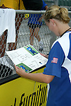 9 August 2003: Unni Lehn (right) is given a poster by a fan after the game. The Carolina Courage tied the Philadelphia Charge 1-1 at SAS Stadium in Cary, NC in the final regular season WUSA game.