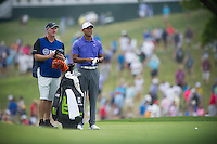 Tiger Woods checks his yardages during the opening round of the US PGA Championship at Valhalla (Photo: Anthony Powter) Picture: Anthony Powter / www.golffile.ie