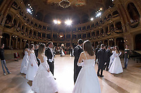 0802020283c Dress rehearsal of the 13th Budapest Opera Ball held at Opera House involving 50 couples of debutantes performing the opening waltz. Budapest, Hungary. Saturday, 02. February 2008. ATTILA VOLGYI