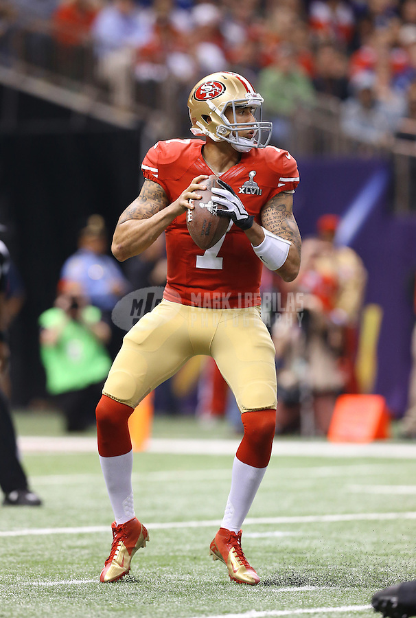 Feb 3, 2013; New Orleans, LA, USA; San Francisco 49ers quarterback Colin Kaepernick (7) against the Baltimore Ravens in Super Bowl XLVII at the Mercedes-Benz Superdome. Mandatory Credit: Mark J. Rebilas-