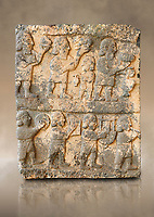 Pictures & images of the South Gate Hittite sculpture stele depicting Hittite Gods. 8th century BC. Karatepe Aslantas Open-Air Museum (Karatepe-Aslantaş Açık Hava Müzesi), Osmaniye Province, Turkey.  Against art background