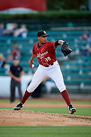 Altoona Curve relief pitcher Jesus Liranzo (19) delivers a pitch during a game against the Richmond Flying Squirrels on May 15, 2018 at Peoples Natural Gas Field in Altoona, Pennsylvania.  Altoona defeated Richmond 5-1.  (Mike Janes/Four Seam Images)