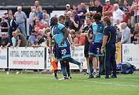 Adebayo Akinfenwa of Wycombe Wanderers  and Sido Jombati come on as substitutes during the Friendly match between Maidenhead United and Wycombe Wanderers at York Road, Maidenhead, England on 30 July 2016. Photo by Alan  Stanford PRiME Media Images.