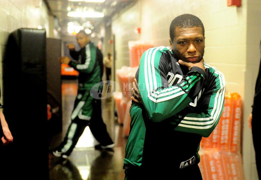 Jan. 28, 2011; Phoenix, AZ, USA; Boston Celtics guard (4) Nate Robinson jokes prior to the game against the Phoenix Suns at the US Airways Center. Mandatory Credit: Mark J. Rebilas-