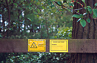 Danger poison signs posted by environmental health officers at the gate to a field where rodent bait poison has been laid..©shoutpictures.com..john@shoutpictures.com