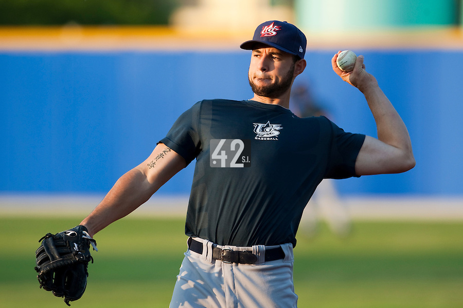 25 September 2009: Josh Kroeger of Team USA warms up prior to the 2009 Baseball World Cup final round match won 8-2 by Team USA over Netherlands, in Nettuno, Italy.