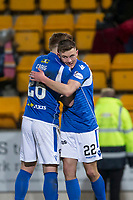 12th February 2020; McDairmid Park, Perth, Perth and Kinross, Scotland; Scottish Premiership Football, St Johnstone versus Motherwell; Callum Hendry of St Johnstone is congratulated after scoring for 1-0 by Liam Craig  in the 27th minute