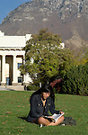 0411-07 Fall GCS..Photo by Steve Walters/BYU.Student studying with the Maeser Building in the background...