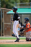 GCL Marlins Javeon Cody (27) bats during a Gulf Coast League game against the GCL Astros on August 8, 2019 at the Roger Dean Chevrolet Stadium Complex in Jupiter, Florida.  GCL Marlins defeated GCL Astros 5-4.  (Mike Janes/Four Seam Images)