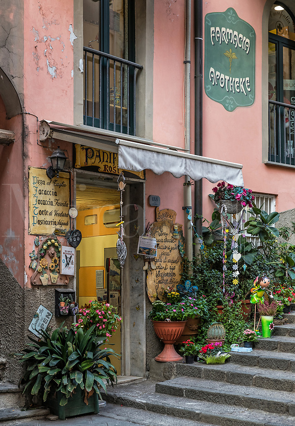 Charming shop in the town of Riomaggiore, Cinque Terre, Liguria, Italy.